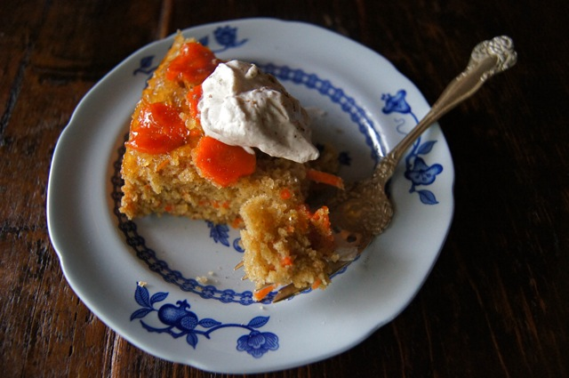 Upside Down Olive Oil Apricot Carrot Cake