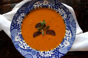 "Apple-Sweet Potato Soup with Shallot ""Croutons"""