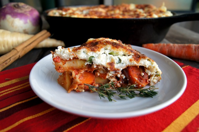 slice of Root Vegetable Lasagna on a round white plate