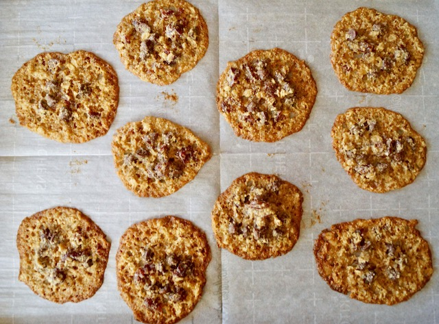 baked lace cookies on parchment
