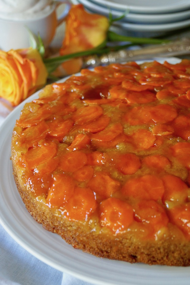 Upside Down Apricot Carrot Cake on a white plate.