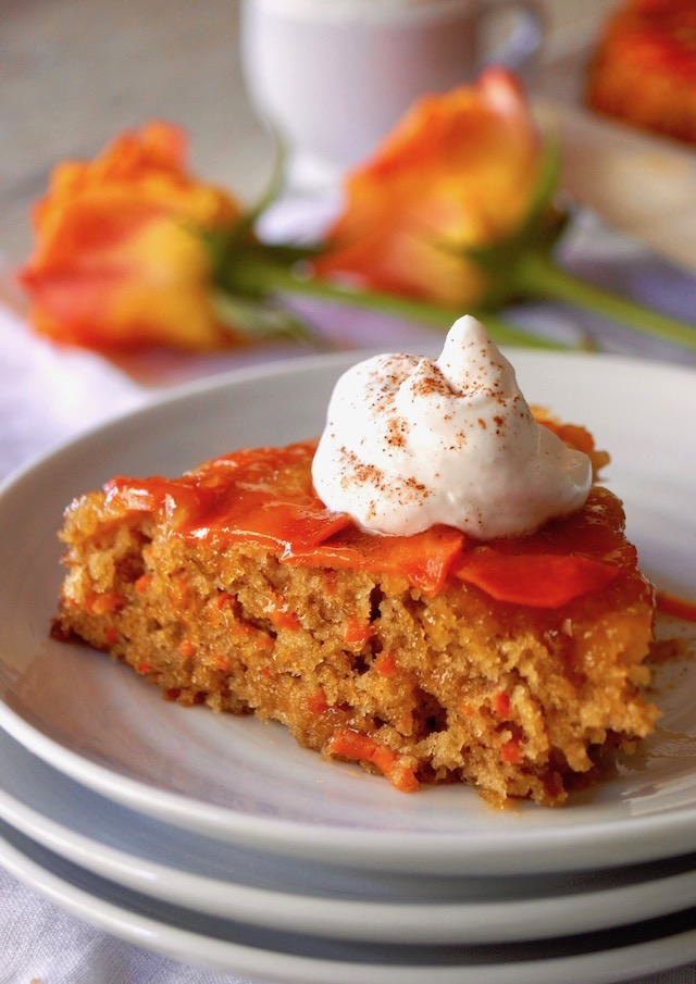 One slice of Upside Down Carrot Apricot Cake.