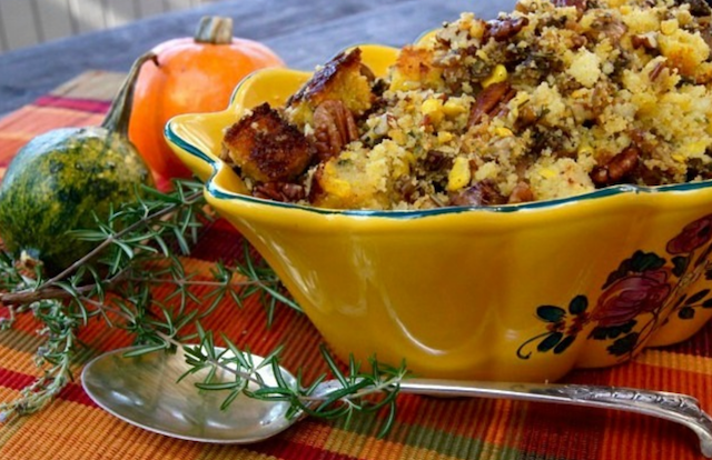 stuffing in a pretty gold painted ceramic bowl