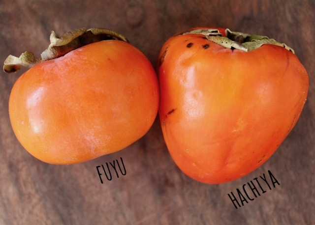 one hachiya and one fuyu persimmon on wooden surface