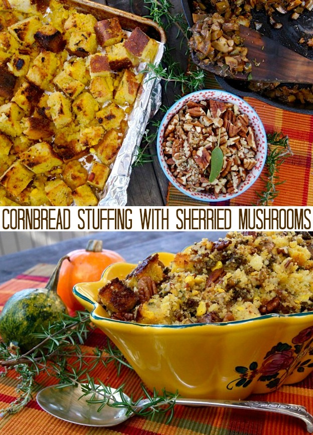 ingredients for stuffing and stuffing in a pretty gold serving bowl