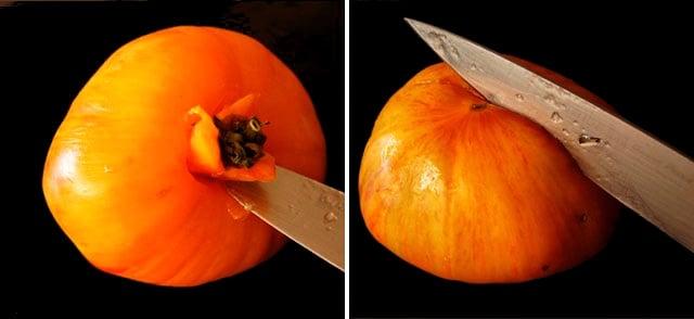 coring and slice a tomato