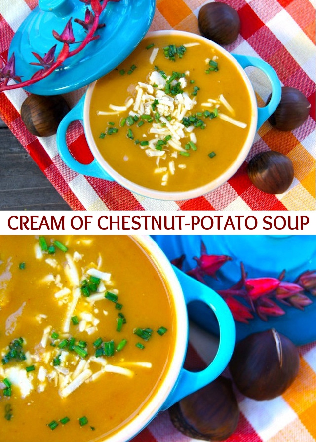Two images of Cream of Chestnut-Potato Soup in a turquoise dutch oven.