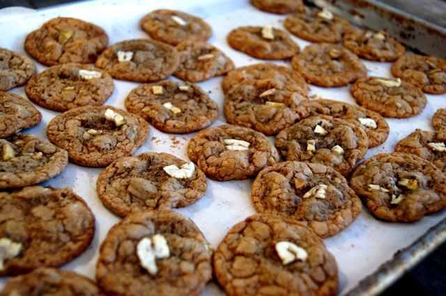 dozens of Baked Gluten-Free Chestnut Chocolate Chip Cookies on a baking sheet