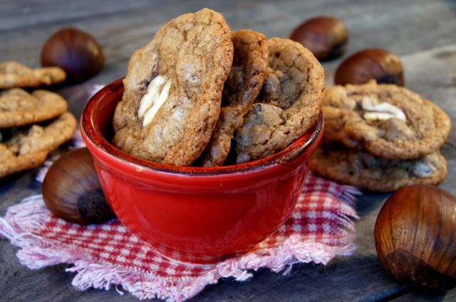 Gluten-Free Chestnut Chocolate Chip Cookies in a red bowl
