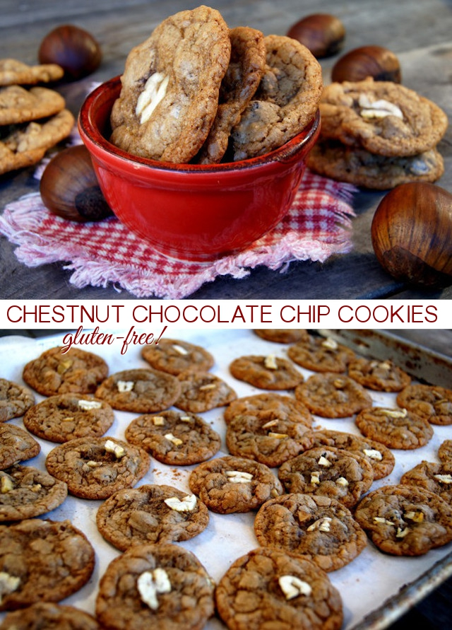 A few gluten-free Chestnut Chocolate Chip Cookies in a red bowl and a baking sheet full of the cookies.