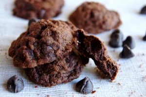 Nutella Chocolate Chip Cookies on a white cloth