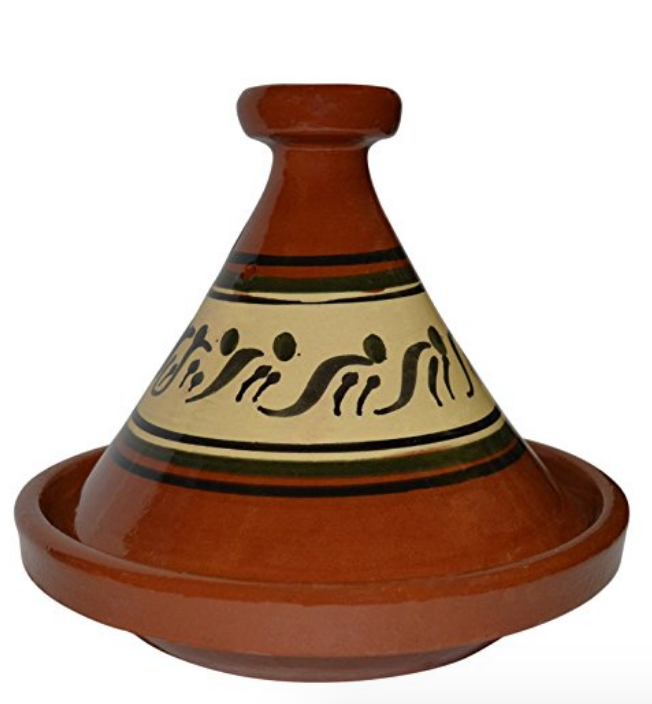 terracotta Tagine with cream and black pattern