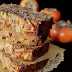 four stacked slices of persimmon cake