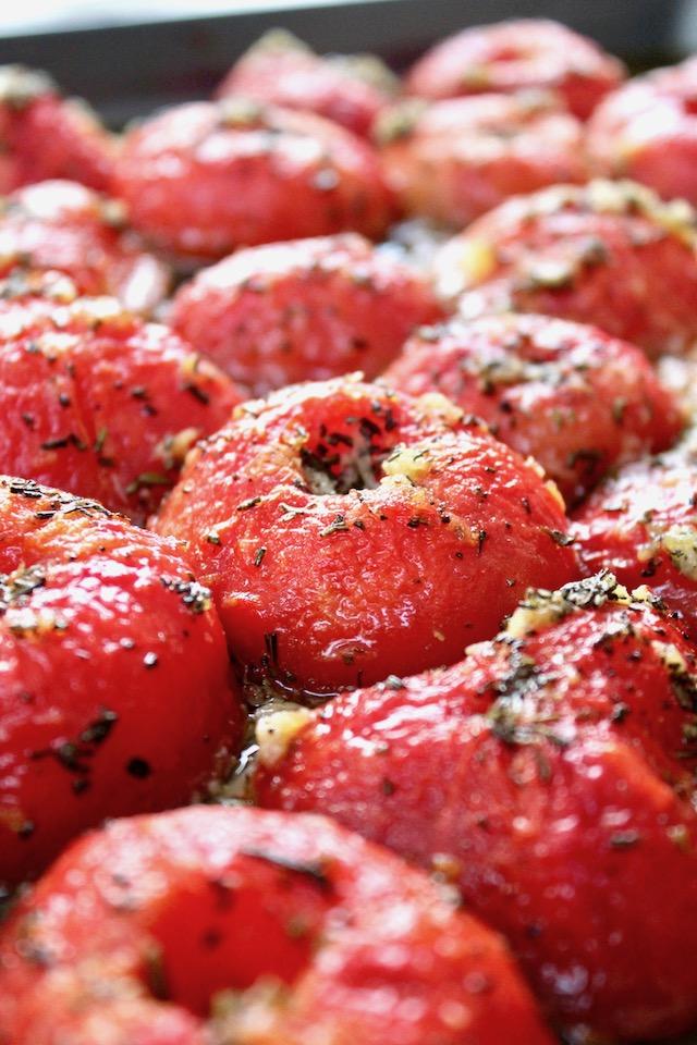 half roasted tomato confit on sheet pan