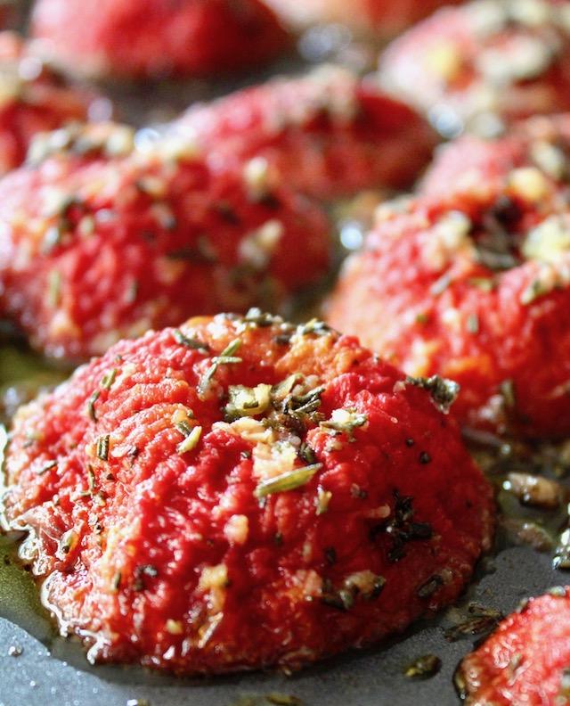 roasted tomato confit on sheet pan