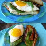 Fried Egg Sandwich on a turquoise plate
