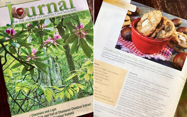 the cover of the Journal of the American Chestnut Foundation magazine and a page in it with Gluten-Free Chestnut Chocolate Chip Cookies Recipe