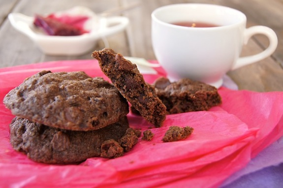 chocolate black currant cookies with a cup of tea