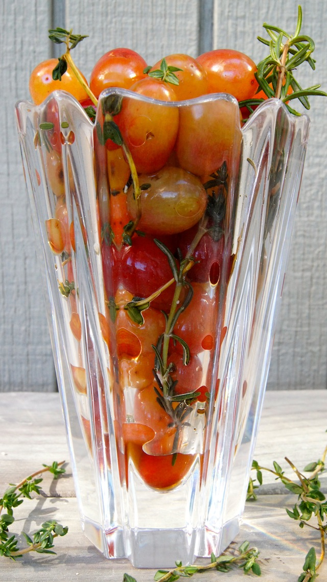 Wine Marinated Grapes in tall glass with fresh herbs