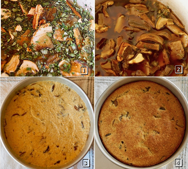 4 photo grid of cooking process of savory polenta cake with mushrooms