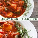 top view and close up of tomato fish stew with fres rosemary