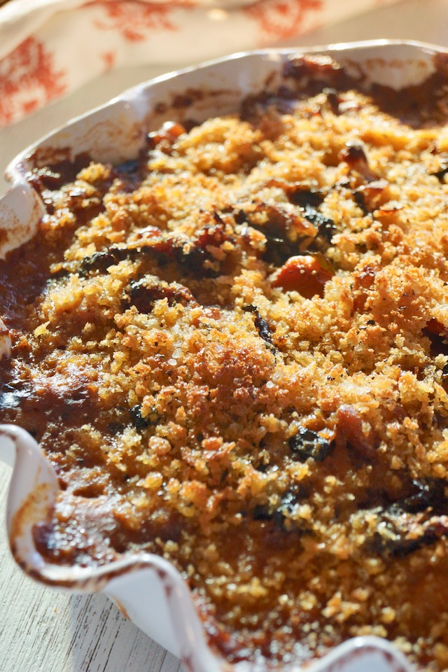Close up of Vegetarian Cassoulet in a white pie dish.