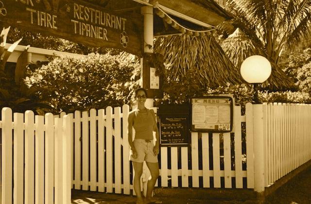 Valentina in front of restaruant in Huahini, Tahiti