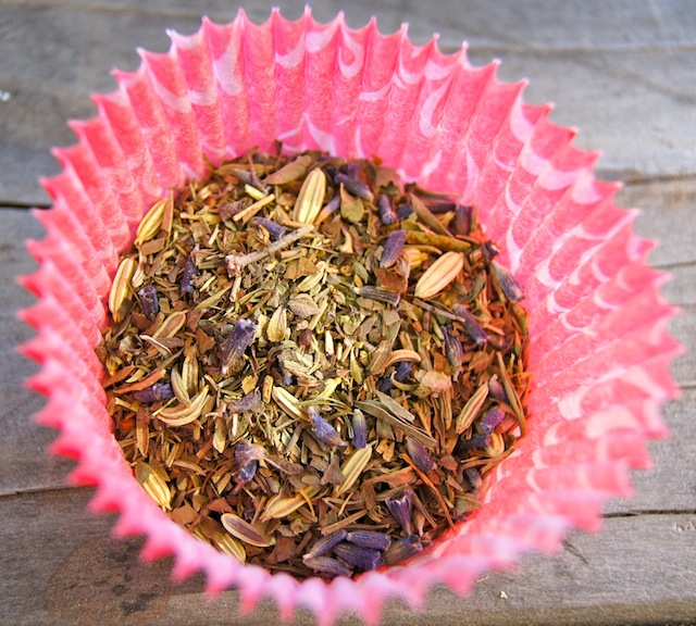 herbs de provence in a pink cupcake liner