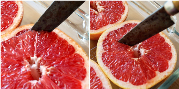 two images of grapefruit being cut