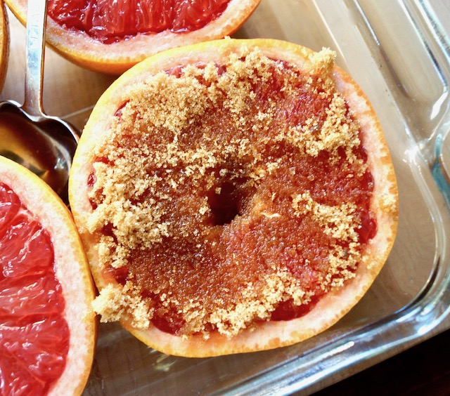 brown sugar all over Ruby Red Grapefruit half