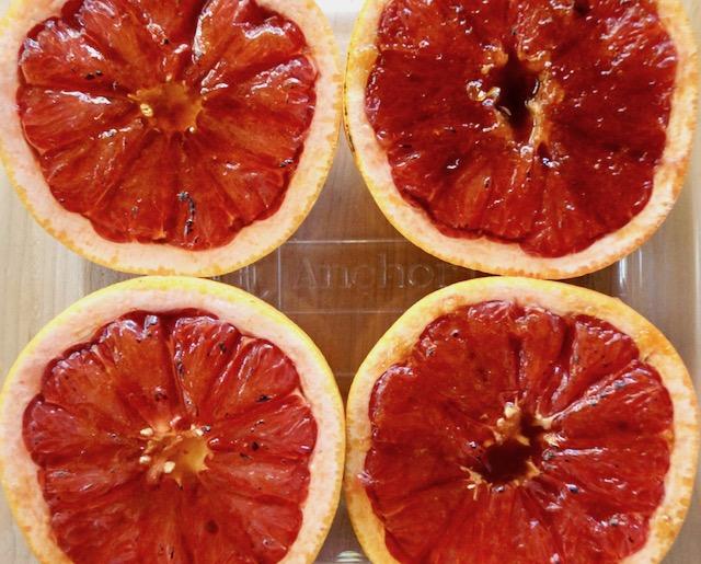 Four Bruleed grapefruit halves