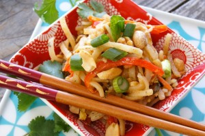 Vegetarian Pad Thai with Spicy Lime-Peanut Sauce