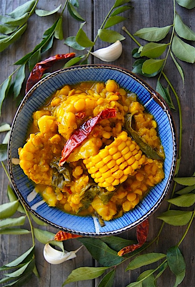 Curried Corn Stew with Lentils and Sweet Potato