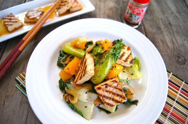 Baby Bok Choy with Crispy Garlic Orange Sauce with grilled tofu