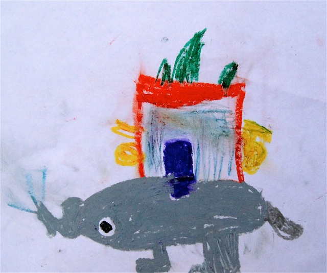 Oil Pastel drawing by Valentina's son