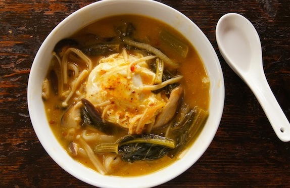 Creamy Miso Noodle-Gai Lan Soup Recipe with Poached Eggs