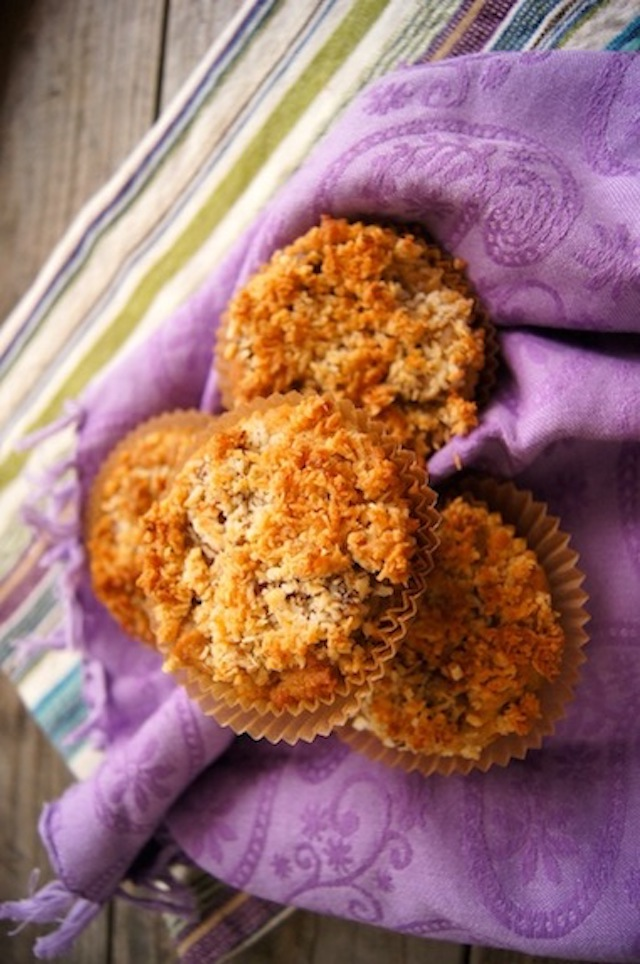 Caramelized Banana-Coconut-Chocolate Chip Muffins {Gluten-Free Recipe}