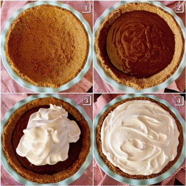 4 photos of the stages of filling the crust for Peanut Butter Chocolate Meringue Pie