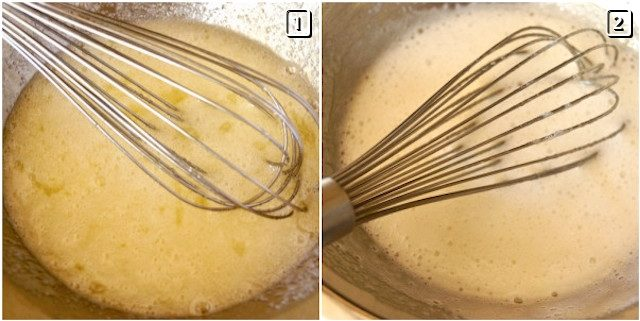 2 steps of making Swiss meringue with a whisk