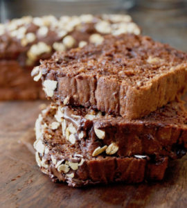 three slices of chocolate bread