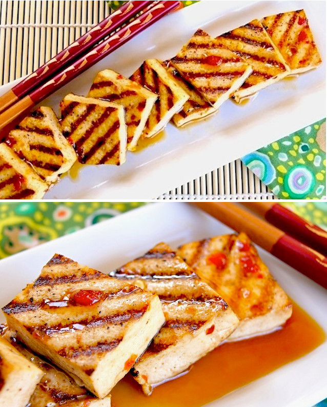 2 pictures of Grilled Tofu with Spicy Tangerine Marinade, both on narrow white plates with chopsticks.