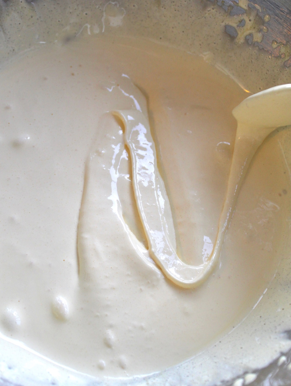 egg-sugar mixture with a drizzle of it on top