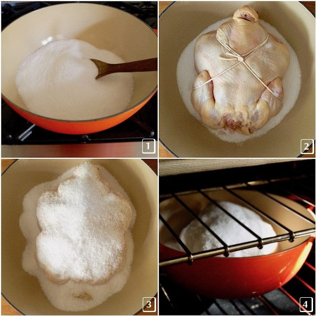 Four photos of different stages of roasted salt crusted chicken