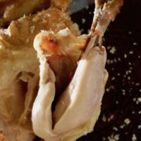 Meat falling off roasted salt crusted chicken leg