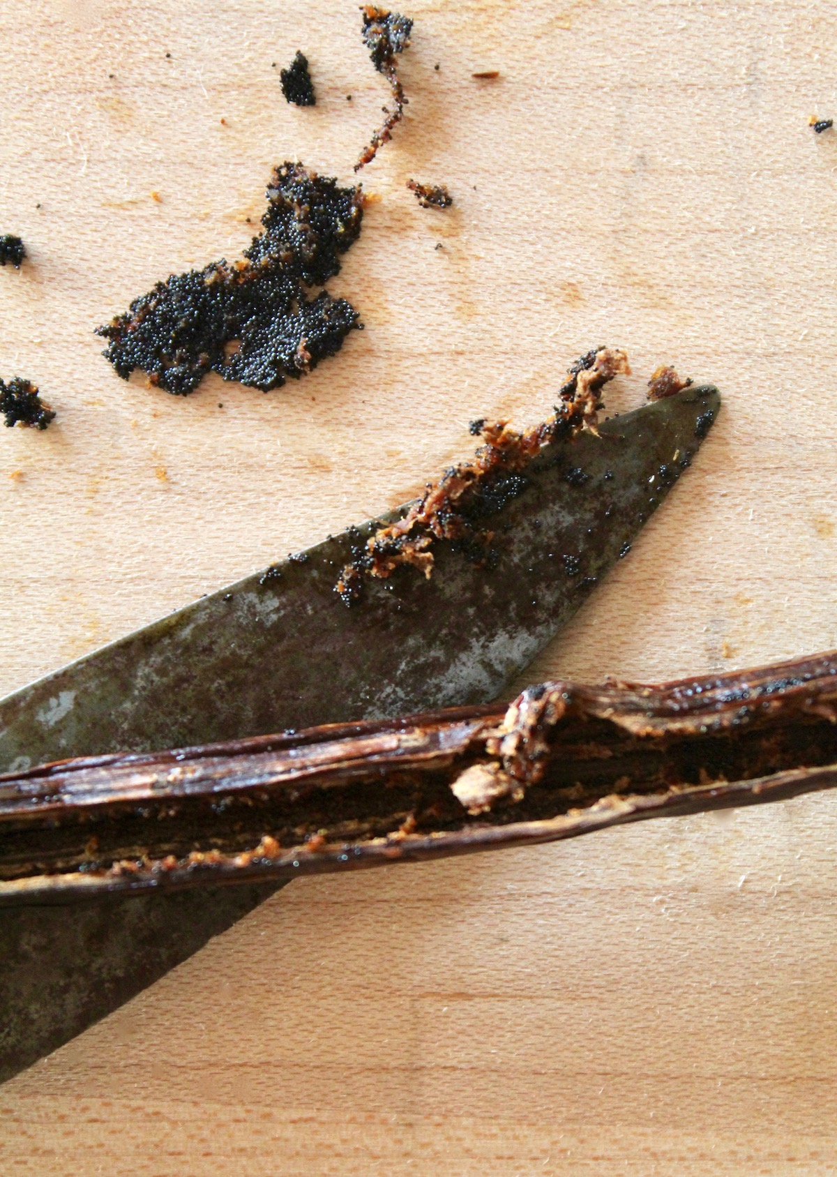 open vanilla bean pod with beans and small knife