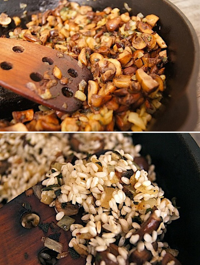Two images of How to Make Sage Brwon Butter Mushroom Risotto