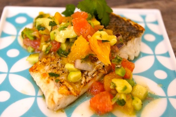 Citrus Avocado Salsa with Cilantro Sautéed Whitefish