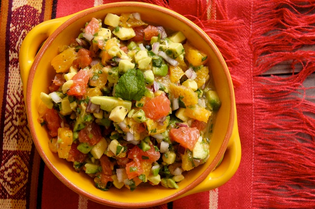 Citrus Avocado Salsa for Whitefish recipe in a golden-yellow bowl
