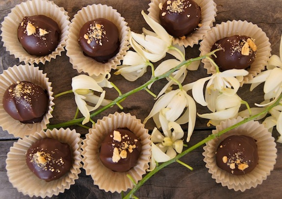 Several Chocolate Biscoff Truffles in paper cups