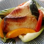Miso-Marinated Black Cod Recipe on a pretty blue plate.